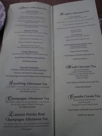 Coombe Abbey Afternoon tea menu