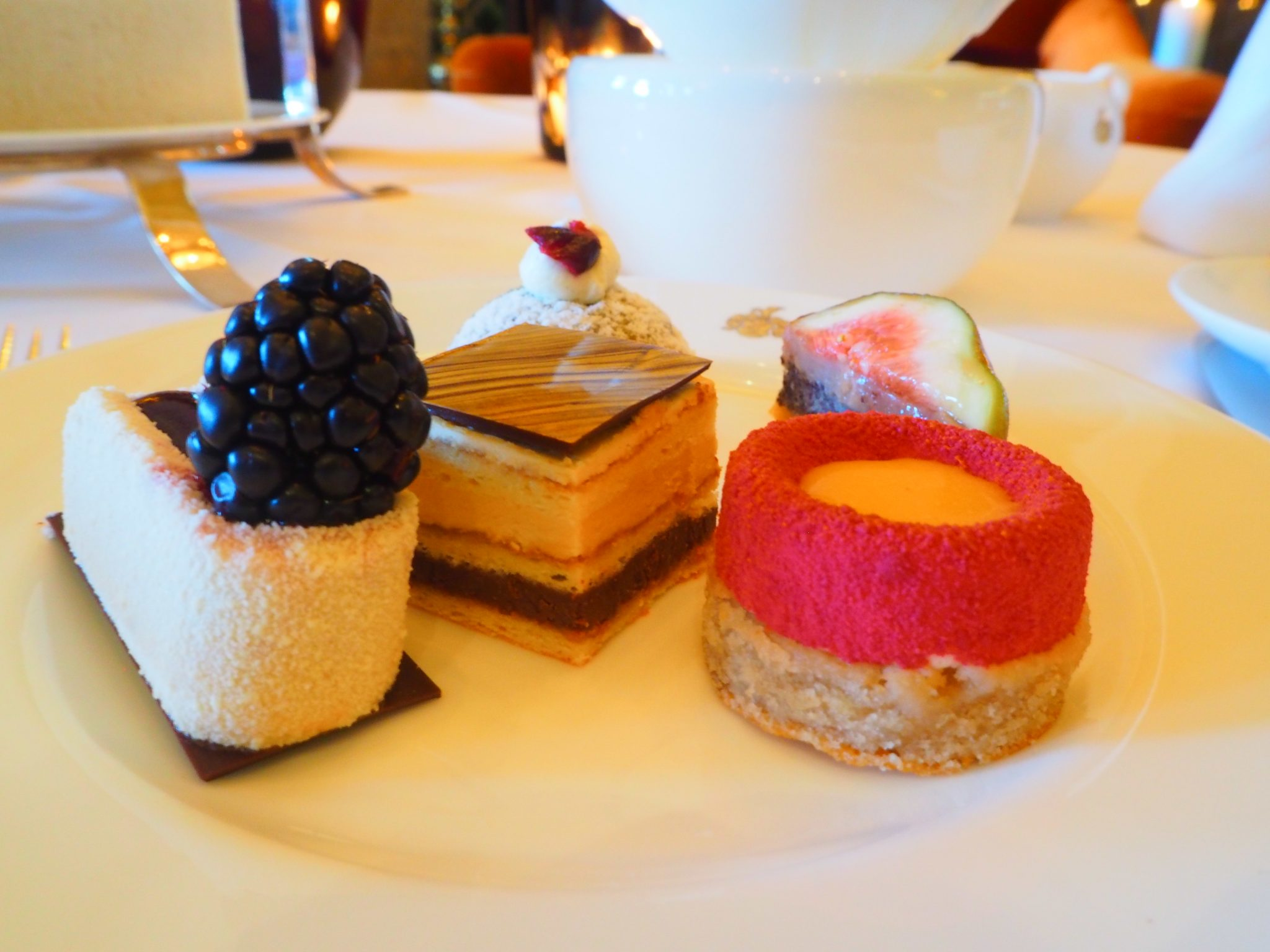 The Cakes: Blackberry & Earl Grey biscuit; Opera cake and Blood orange mousse & Chestnut biscuit