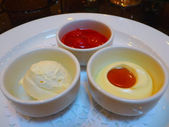 The toppings: Ontario strawberry jam, maple butter and clotted cream.