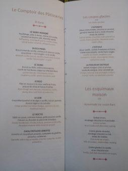 Pastry menu / Menu des Pâtisseries