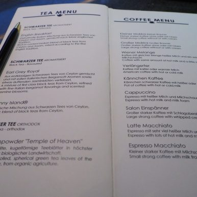 Tea & Coffee menu