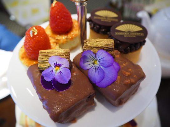 Date & Walnut pound cake topped with an edible Flower- Afternoon Tea / High Tea Mandarin Oriental Munich