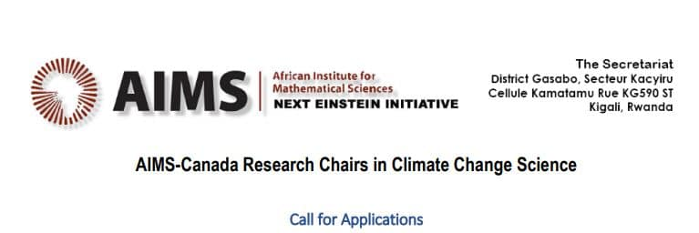 Apply AIMS-Canada Research Chairs in Climate Change Science for Scientists 2018 - Rwanda | After School Africa  sc 1 st  After School Africa : canadian research chairs - Cheerinfomania.Com
