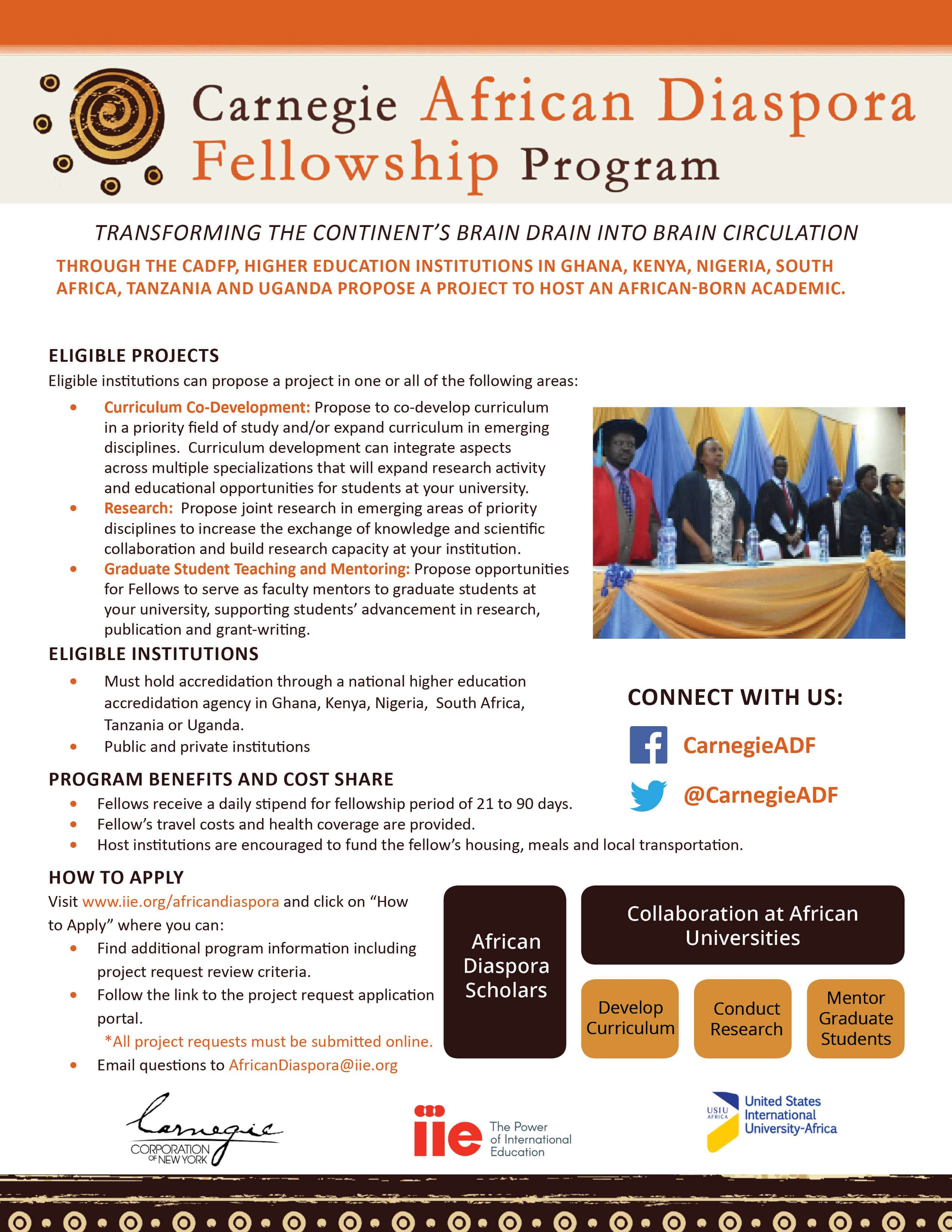 2019/2020 Academic Fellowships for African/International Students