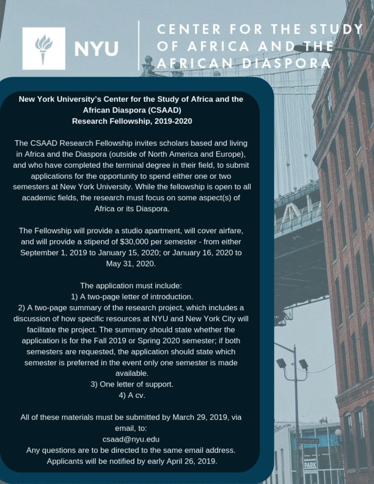 New York University CSAAD Research Fellowship 2019 for