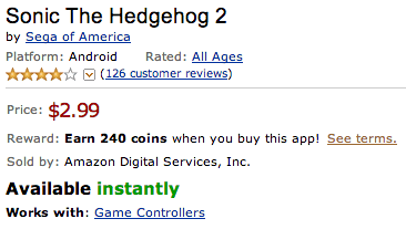 Sonic 2 for 59 coins