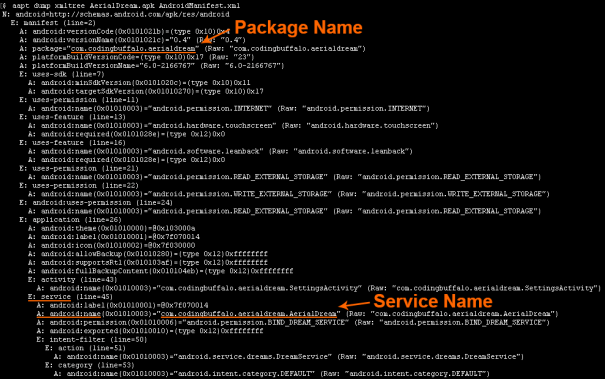 aapt-package-service-name