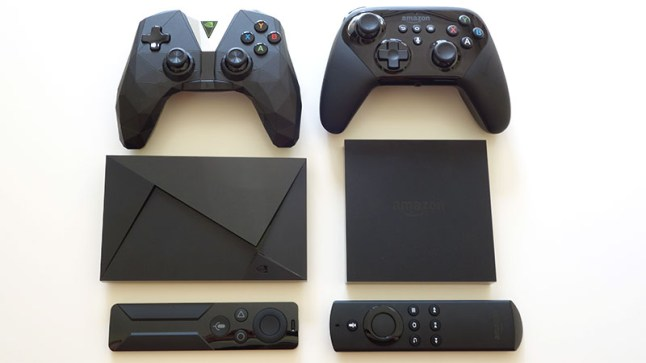 Physical comparison of the 2nd-gen NVIDIA Shield TV to the Amazon