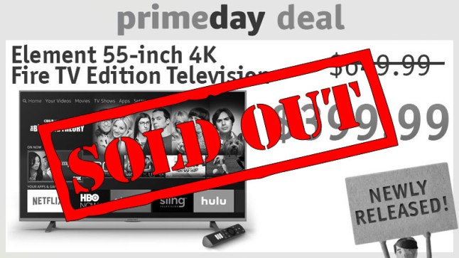 Prime Day Deal for Element 55″ 4K Fire TV Edition TV sells out