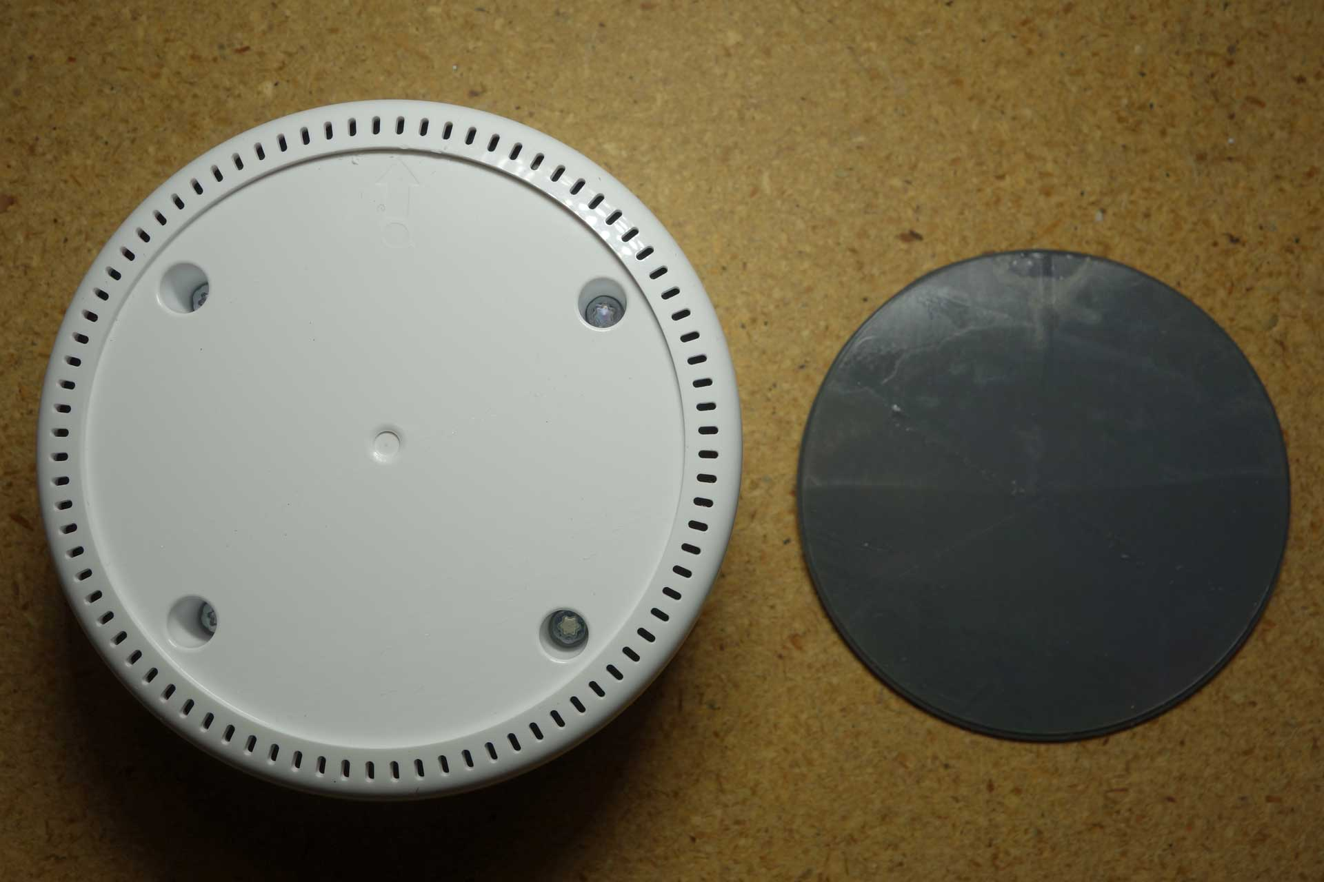 c082117c2feb5c First, you need to open the Echo Dot. This is done peeling away the rubber  bottom which is attached with adhesive. The adhesive on my Echo Dot  remained ...