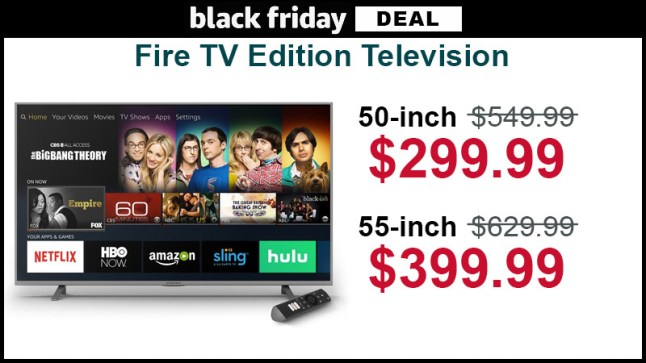 Element Fire TV Edition 4K television is $299 99 for 50″ and $399 99