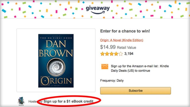 Get $1 eBook credit for subscribing to a free Amazon email