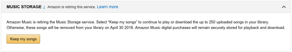 Amazon's MP3 music storage service will end on April 30th | AFTVnews