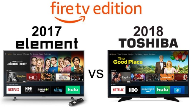 Comparison of 1st-Gen Element and 2nd-Gen Toshiba Fire TV Edition