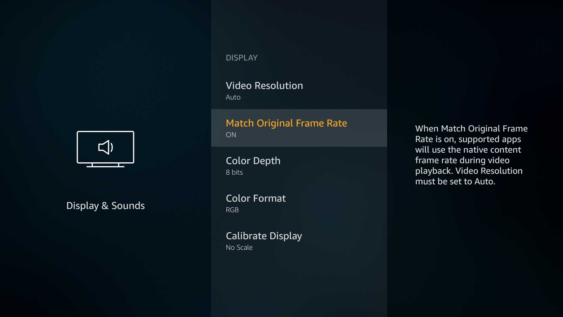 Explanation of the new Frame Rate Matching feature on the