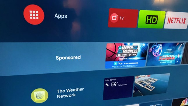 Google begins displaying Sponsored Ads on Android TV home