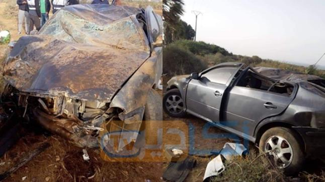 انقلاب سيارة في حادثة سير خطيرة بمدخل مدينة أكادير