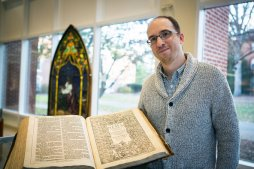Brian Shetler with the King James Bible he discovered.Credit Lynne DeLade/Drew University