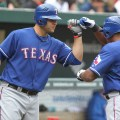 Mitch Moreland is producing at a strong clip for first basemen. Flickr/Keith Allison/http://bit.ly/1BdVAev