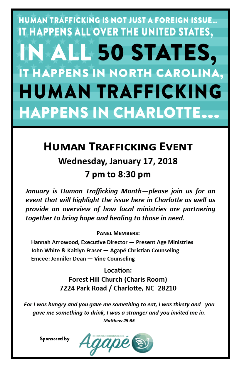 flyer for Human Trafficking Event in 2018