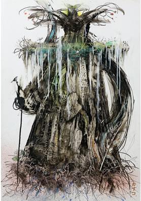 女神 - Tree(墨・アクリル 4号)