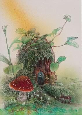 旅 - Fairyhouse(墨・アクリル 4号)