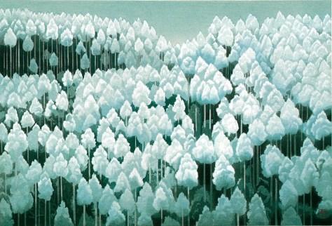 北山初雪(木版画)