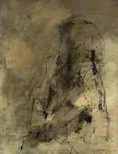 女性の手と顔(技法:グワッシュ)15号