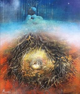 小島加奈子「the earth」(キャンバスにアクリル 10号)