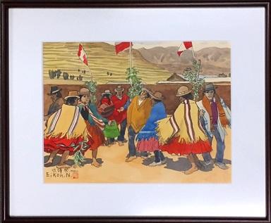 波打栄光 収穫祭 村人の踊り 水彩 6