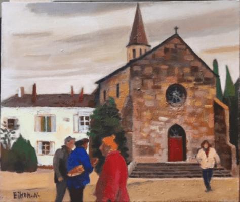 村の教会(デビエ村) 油彩 F8 号