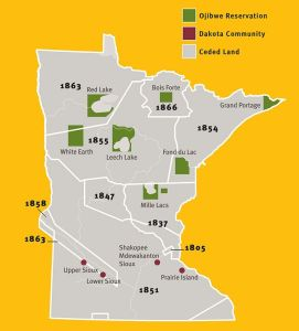 Approximate boundaries of 19th century treaties and locations of tribal communities. Courtesy Minnesota Historical Society