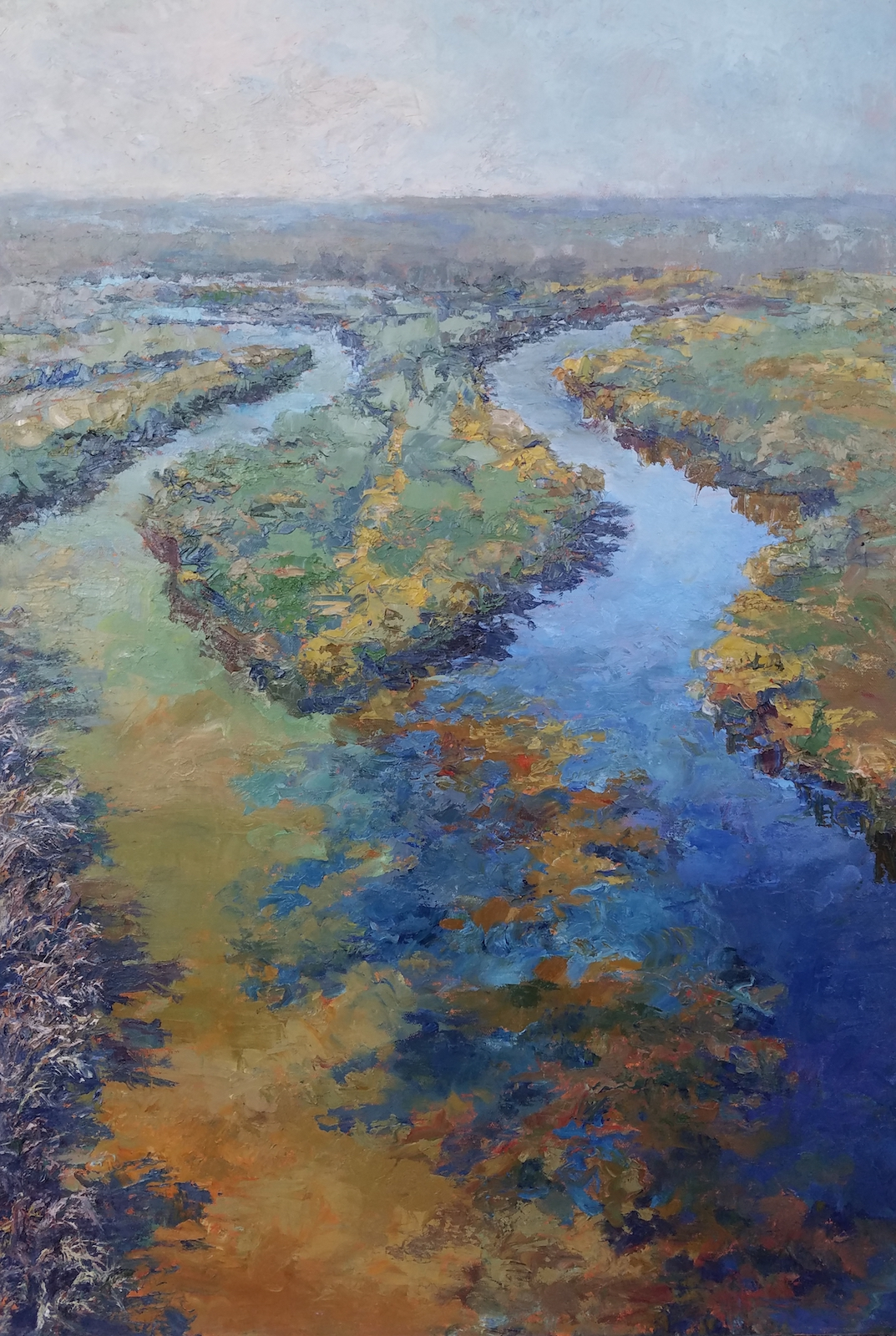 A painting of the confluence of the Minnesota and Mississippi Rivers by Greg Lecker