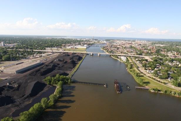 The Fox River flows into Green Bay. Photo courtesy Wisconsin DOT.