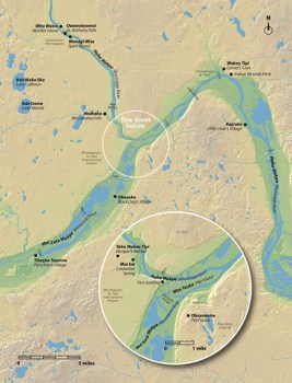 Bdote, the confluence of the Mississippi and Minnesota Rivers,  Watan Tipi (Carver's Cave), and other Dakota sites