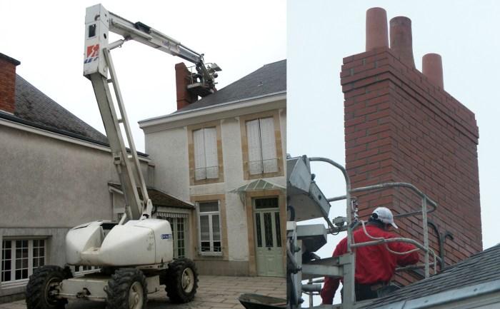Rénovation d'une cheminée avec une nacelle (Mailly-Champagne)