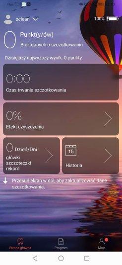 Aplikacja Oclean główne menu i ustawienia (1)