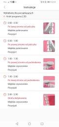 Aplikacja Oclean przykładowe instrukcje do programów czyszczenia (1)
