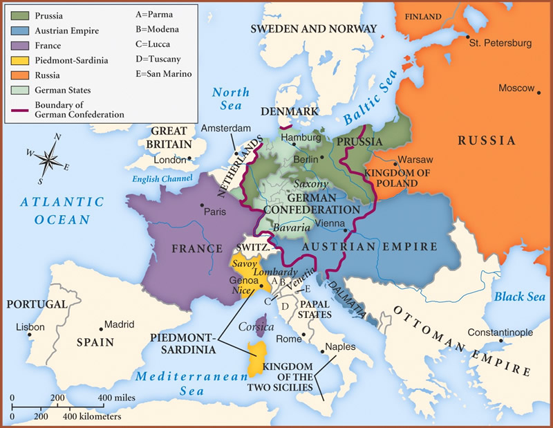Map of Europe in 1848. Note the size of the Austrian Empire but also the deep penetration into Europe of the Ottoman Empire
