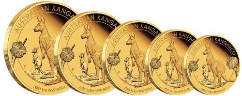 Australian Kangaroo Gold Coin Set, Perth Mint, Australia