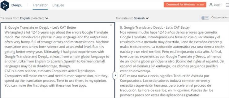 The DeepL translator app