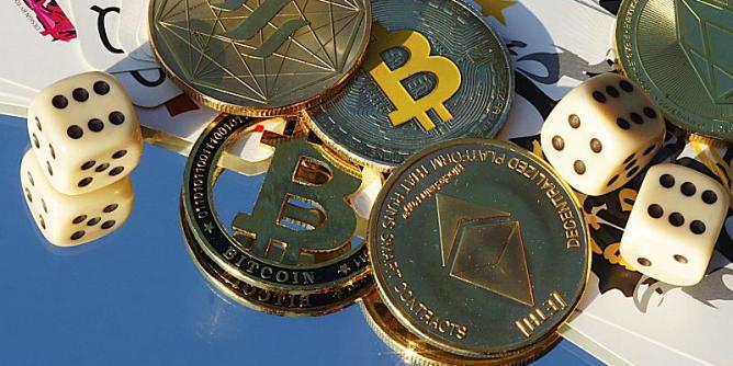Cryptocurrency commemorative coins and cards, dices. Gambling is one of the use cases.