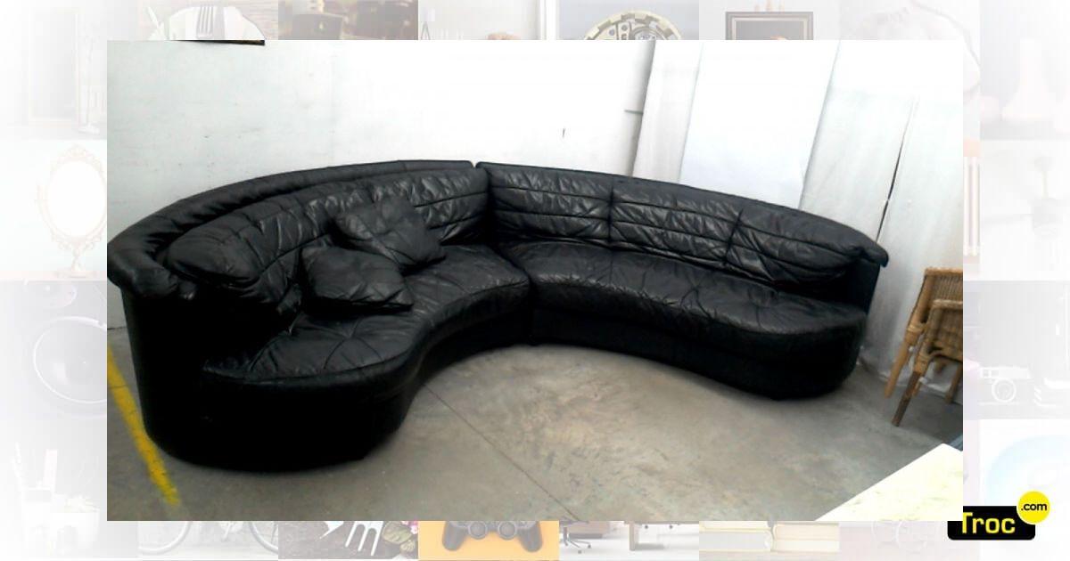 achat canape cuir noir demi lune