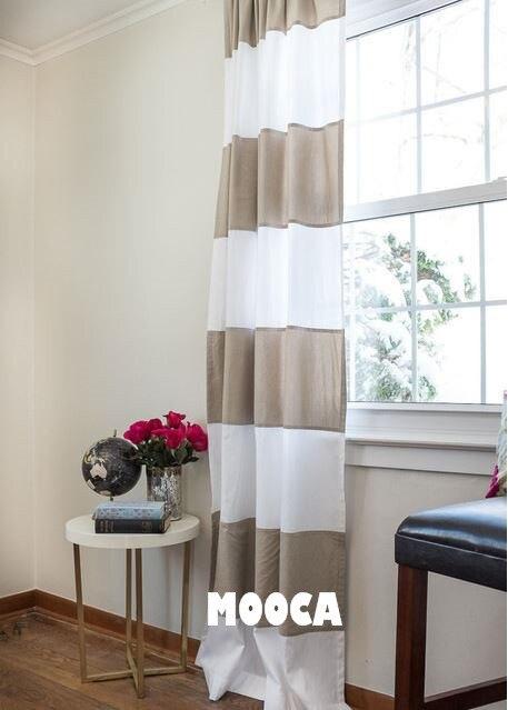 coton taupe et blanc bande horizontale