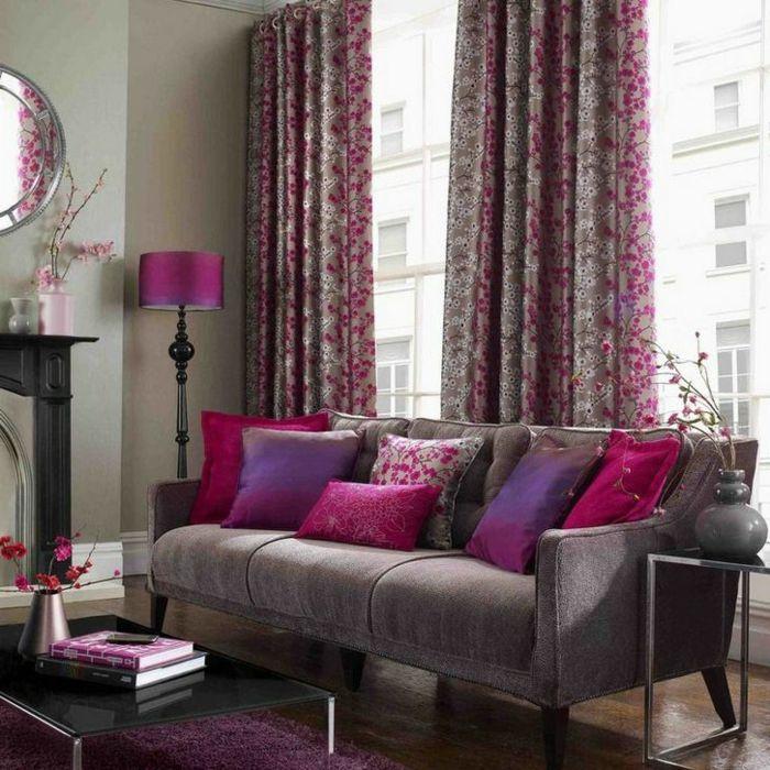 gris concernant rideau gris et rose