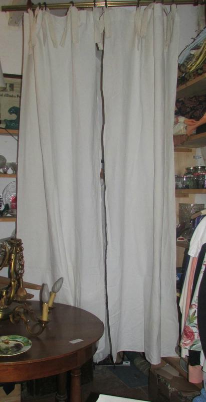 double rideaux lin blanc casse draps