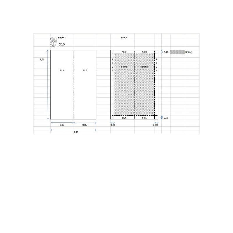 rideau en taffetas de soie gris 350 cm