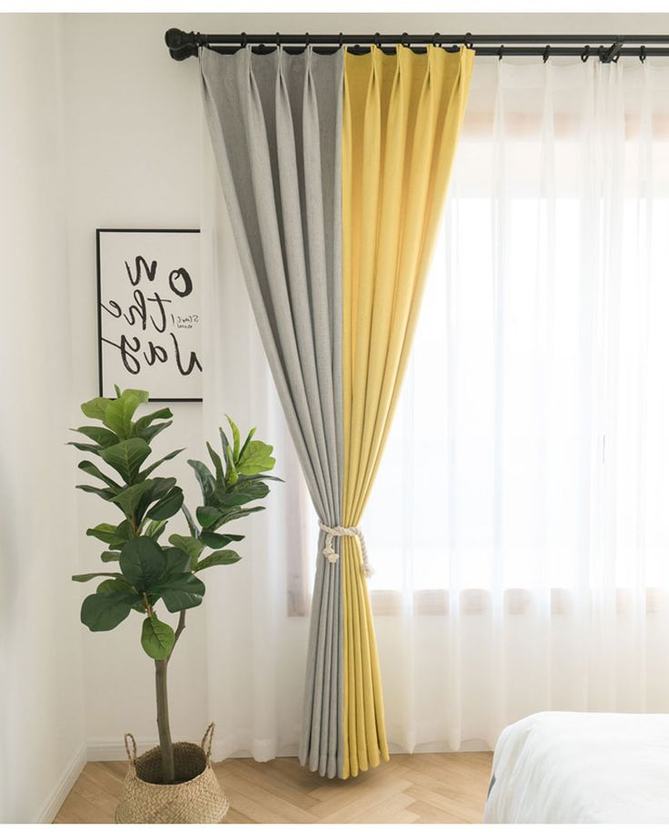 rideau occultant polyester jaune gris