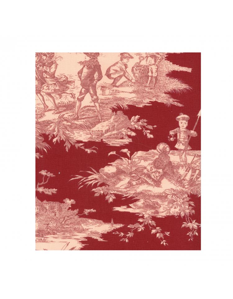 rideau sur mesure toile de jouy rouge