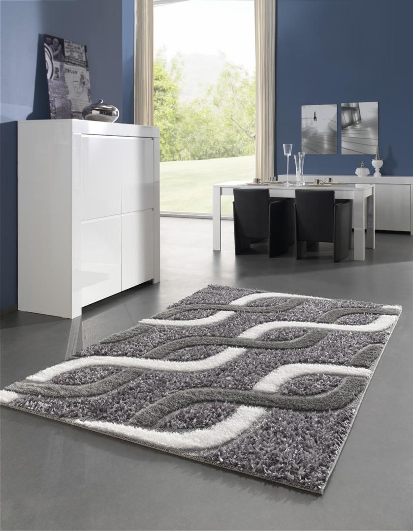 tapis moderne pour salon shaggy gris
